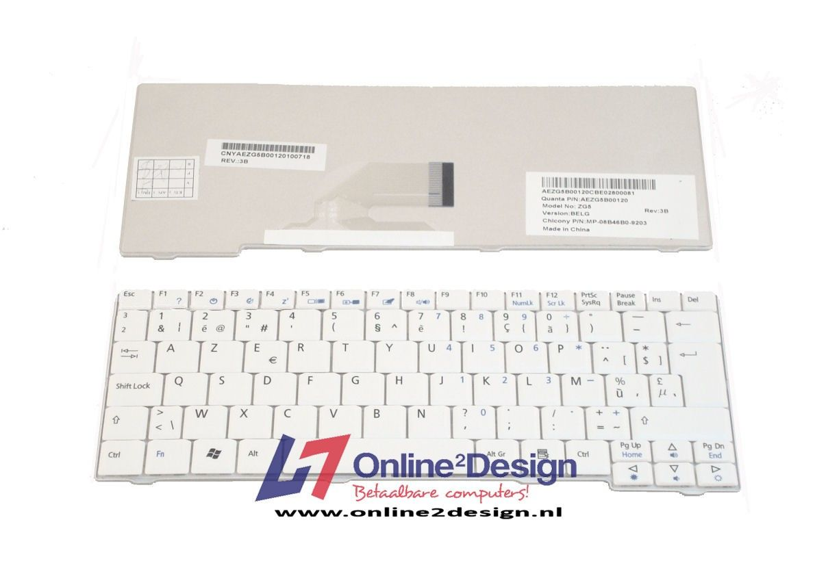 Acer Aspire One A110/ A150/ D150/ D250/ ZG5/ ZG8 BE keyboard (wit)